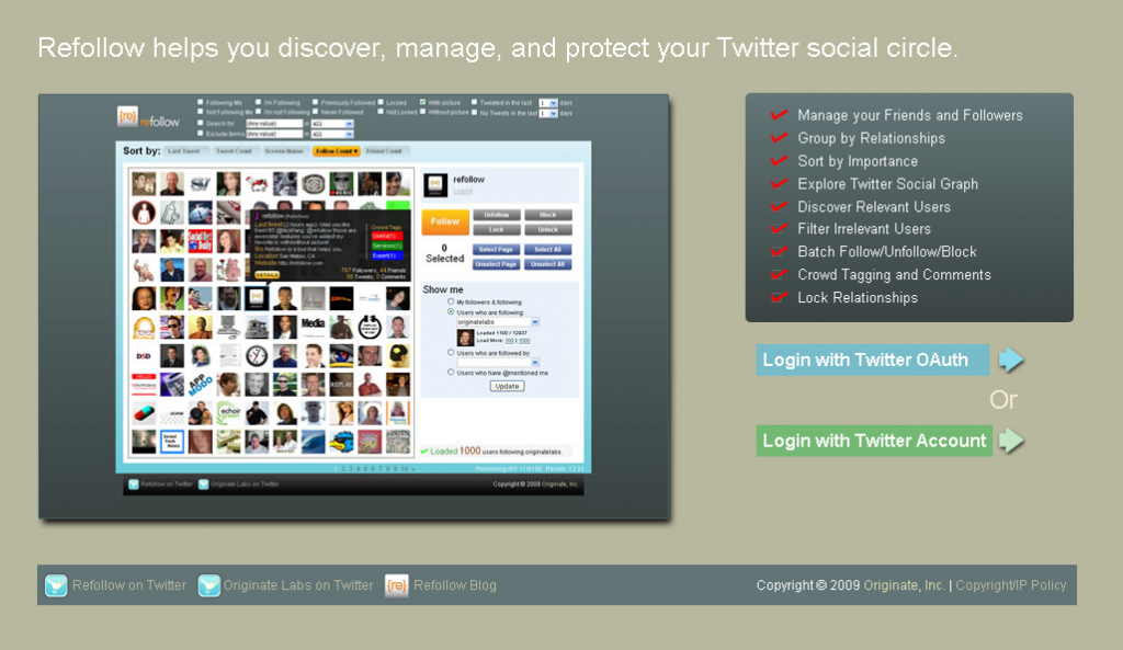 Refollow Home Page